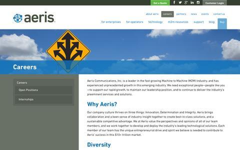 Screenshot of Jobs Page aeris.com - M2M Companies - Jobs & Careers   Aeris - captured Nov. 2, 2014