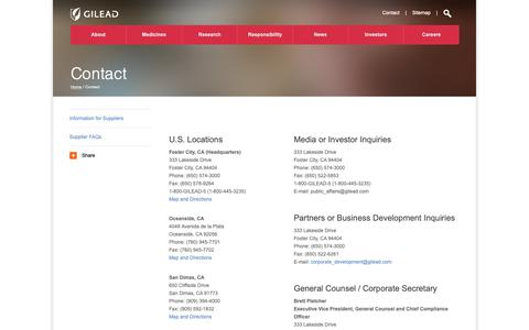 Screenshot of Contact Page gilead.com - Contact | Gilead - captured Oct. 18, 2018