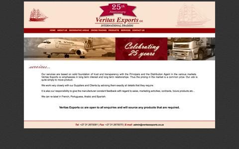 Screenshot of Services Page veritasexports.co.za - Veritas Exports - Services - captured Oct. 26, 2014