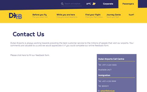 Screenshot of Contact Page dubaiairports.ae - Contact | Dubai Airports - captured Feb. 15, 2019