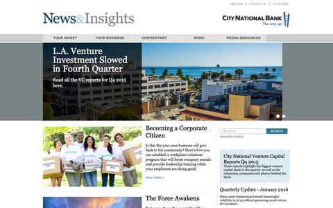 Screenshot of Press Page cnb.com - News & Insights | City National Bank - captured Feb. 5, 2016