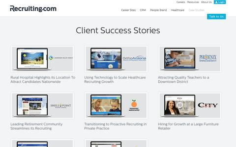 Screenshot of Case Studies Page recruiting.com - Client Success Stories - Recruiting.com - captured March 6, 2016