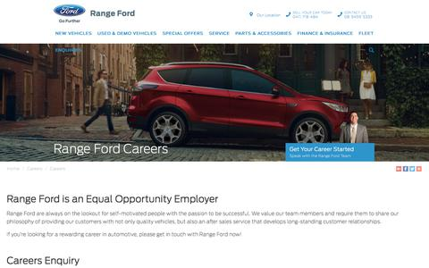 Screenshot of Jobs Page rangeford.com.au - Range Ford Careers - Range Ford - captured Sept. 21, 2018