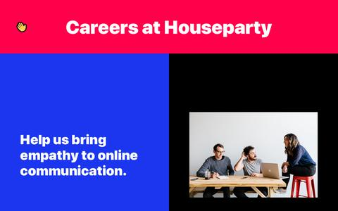 Screenshot of Jobs Page houseparty.com - Houseparty | Careers at Houseparty - captured Jan. 13, 2019