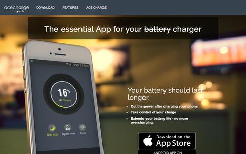 Screenshot of Home Page acecharge.com - Ace Charge | The essential App for your chargerAce Charge | The essential App for your charger - captured Oct. 24, 2018