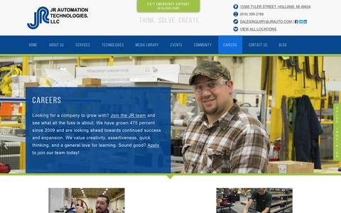 Screenshot of Jobs Page jrauto.com - Job Openings and Career Opportunities for Mechanical and Controls Engineers - captured April 20, 2017