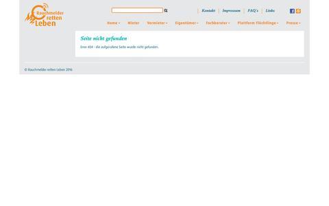 Screenshot of FAQ Page rauchmelder-lebensretter.de - error-404 - Rauchmelder retten Leben - captured Dec. 24, 2016