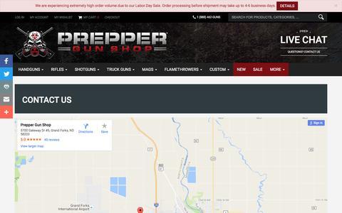 Screenshot of Contact Page preppergunshop.com - Contact Us | Prepper Gun Shop - captured Sept. 5, 2016