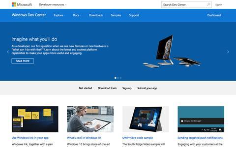 Screenshot of Developers Page microsoft.com - Windows Dev Center - captured Dec. 23, 2016