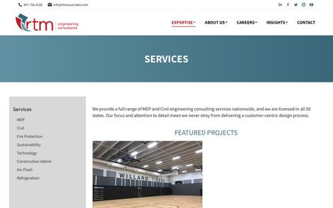Screenshot of Services Page rtmassociates.com - Services - RTM Engineering Consultants - captured Nov. 30, 2019