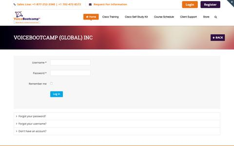 Screenshot of Login Page voicebootcamp.com - VoiceBootcamp (Global) Inc - captured Oct. 18, 2018