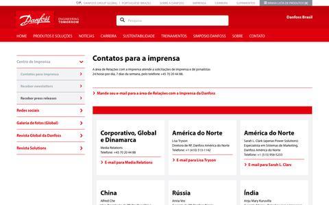 Screenshot of Press Page danfoss.com.br - Contatos para a imprensa - captured Sept. 26, 2018