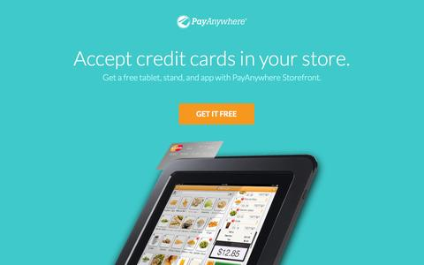 Screenshot of Landing Page payanywhere.com - ipad pos | android tablet cash register | ipad point of sales - PayAnywhere - captured Oct. 27, 2014