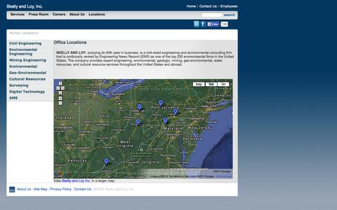 Screenshot of Locations Page skellyloy.com - Skelly and Loy, Inc. Engineers - Locations - captured Oct. 4, 2014
