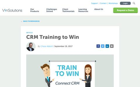 Screenshot of Blog vinsolutions.com - VinSolutions - CRM Training To Win - captured Dec. 3, 2019