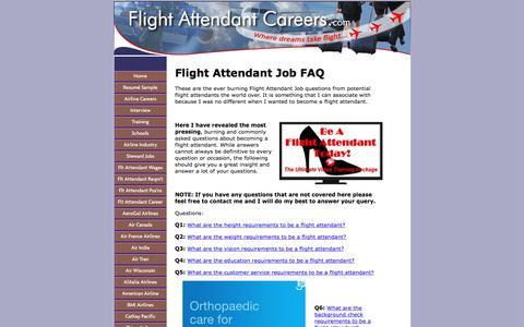 Screenshot of FAQ Page flight-attendant-careers.com - Flight Attendant Job FAQ - Find your answers HERE - captured June 23, 2017