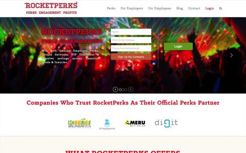Screenshot of Home Page rocketperks.com - RocketPerks | - captured Sept. 19, 2014