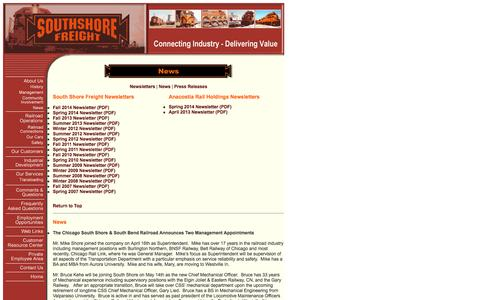Screenshot of Press Page southshorefreight.com - Chicago South Shore & South Bend Railroad - News - captured Oct. 2, 2014
