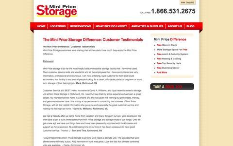 Screenshot of Testimonials Page minipricestorage.com - Storage Customer Reviews and Testimonials | Mini Price Storage - captured Oct. 1, 2014