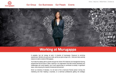Screenshot of Jobs Page murugappa.com - Murugappa Group Career Opportunities & Jobs in India - captured Aug. 29, 2016