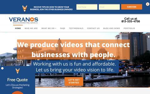 Screenshot of Home Page veranosresources.com - Tampa Video Production | Veranos Resources Marketing - captured Feb. 17, 2016