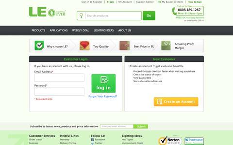 Screenshot of Login Page lightingever.co.uk - Customer Login - captured July 14, 2016