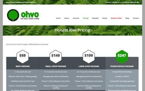 Screenshot of Pricing Page ohvo.co.nz - Honest Kiwi Pricing | OHVO - On Hold Voice Overs - captured Oct. 27, 2014