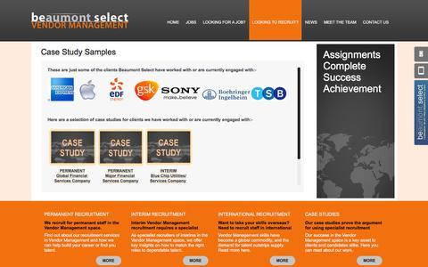 Screenshot of Case Studies Page vendorrecruit.co.uk - Case Studies for Vendor Management Recruitment Services - captured March 30, 2016