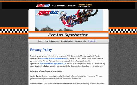 Screenshot of Privacy Page proamsynthetics.com - Privacy Policy - Best AMSOIL Dealer In San Carlos California - captured Oct. 4, 2014