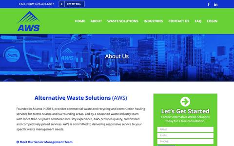 Screenshot of About Page alternativewastesolutions.com - Atlanta Waste Management & Recycling | Alternative Waste Solutions - captured July 10, 2018