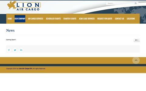 Screenshot of Press Page lionaircargo.com - News - captured Oct. 2, 2014
