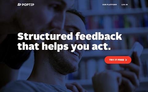 Screenshot of Home Page poptip.com - Poptip - captured Sept. 12, 2014
