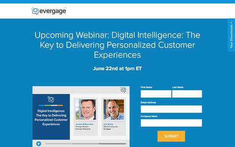 Screenshot of Signup Page evergage.com - Evergage | Webinar - Digital Intelligence: The Key to Delivering Personalized Customer Experiences - captured June 7, 2017