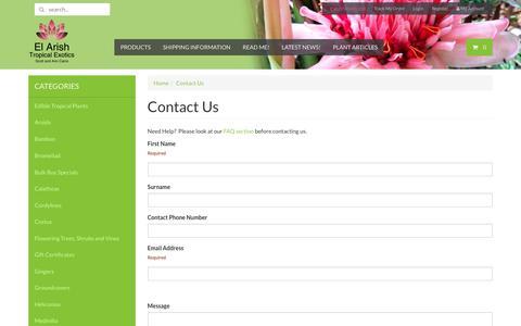 Screenshot of Contact Page elarishtropicalexotics.com - Contact Us - captured Sept. 23, 2018