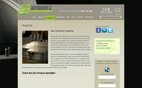 Screenshot of Products Page sweeneymetal.com - Products | Sweeney Metal Fabricators New Hampshire - captured Oct. 7, 2014