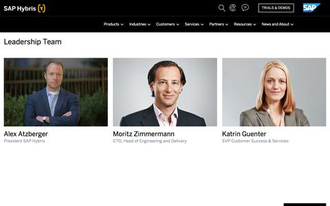 Screenshot of Team Page hybris.com - SAP Hybris - captured March 20, 2018