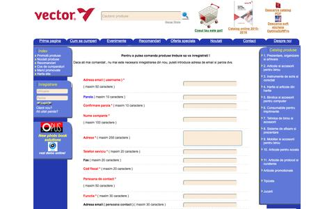 Screenshot of Signup Page vectorinternational.ro - Vector International importator si distribuitor de produse de birotica si papetarie - captured Feb. 13, 2016