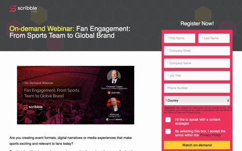 Screenshot of Landing Page scribblelive.com - Fan Engagement: From Sports Team To Global Brand - captured Sept. 19, 2018