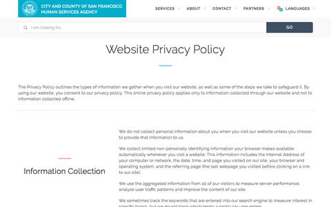 Screenshot of Privacy Page sfhsa.org - Privacy Policy | San Francisco  Human Services Agency - captured Feb. 24, 2018