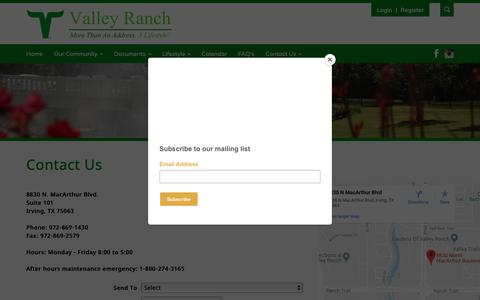 Screenshot of Contact Page valleyranch.org - Valley Ranch Association - captured Oct. 20, 2018