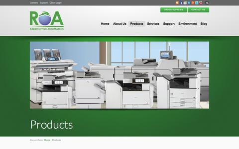 Screenshot of Products Page roa-usa.com - Advanced Multifunction Copiers, Office equipment and Supplies - captured Oct. 27, 2014