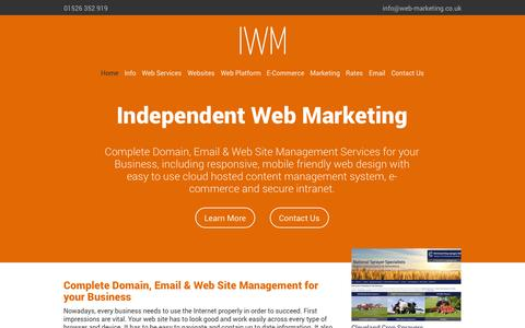 Screenshot of Home Page web-marketing.co.uk - Independent Web Marketing; Lincolnshire based responsive web site design, site marketing and email services | Independent Web Marketing - captured Oct. 6, 2014