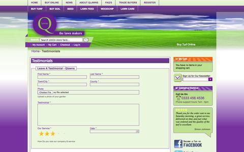 Screenshot of Testimonials Page qlawns.co.uk - Testimonials -  Q Lawns - captured Sept. 26, 2014