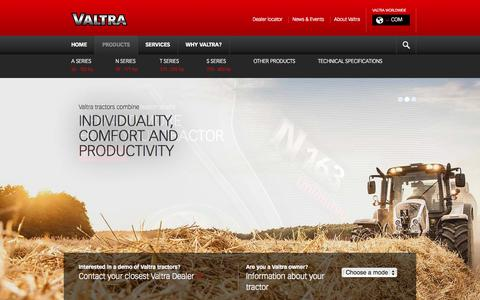 Screenshot of Products Page valtra.com - Valtra - Products - captured Oct. 7, 2014