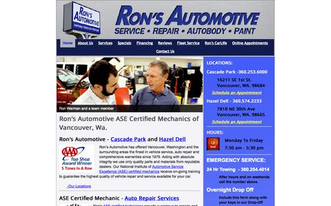 Screenshot of Home Page ronsautomotive.com - Home - Ron's AutoBody & Collision - captured Oct. 6, 2014