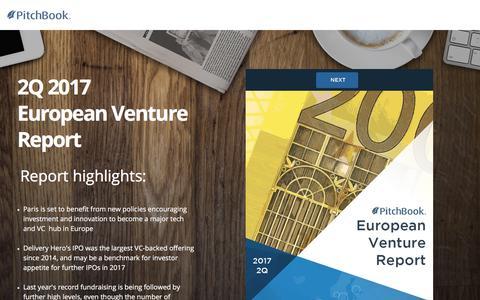 Screenshot of Landing Page pitchbook.com - PitchBook 2Q 2017 European Venture Report - captured July 22, 2017