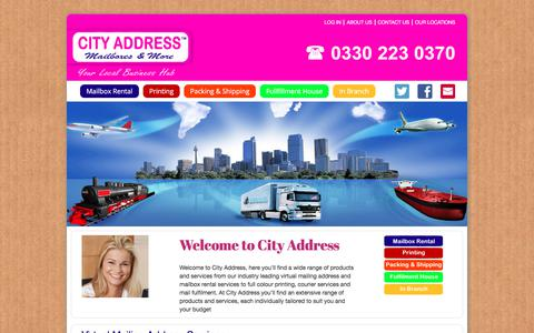 Screenshot of Home Page cityaddressuk.com - City Address Mailbox and More Virtual Mailing Address, Mailbox Rental | City Address - captured July 31, 2017