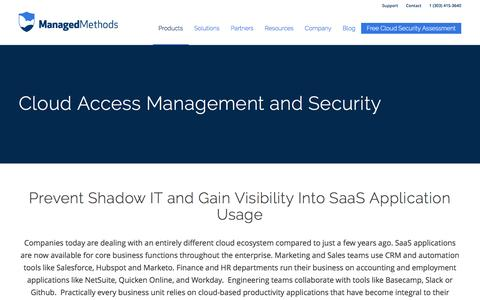 Screenshot of Products Page managedmethods.com - Cloud Access Management & Security for Shadow IT | ManagedMethods - captured Nov. 19, 2016