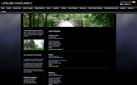 Screenshot of Locations Page lifelinechaplaincy.org - We serve patients & families at all major hospitals in Houston, Dallas, Central Texas & Tarrant County. - captured July 13, 2016