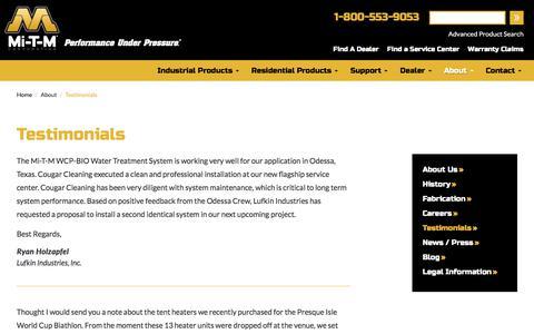 Screenshot of Testimonials Page mitm.com - Testimonials about Mi-T-M Corporation - captured Oct. 18, 2017